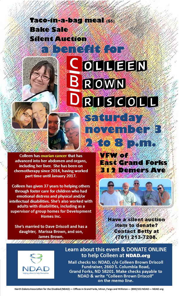 Poster for Colleen Brown Driscoll fundraiser benefit in November ...