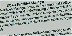 NDAD seeks to fill new facilities manager position